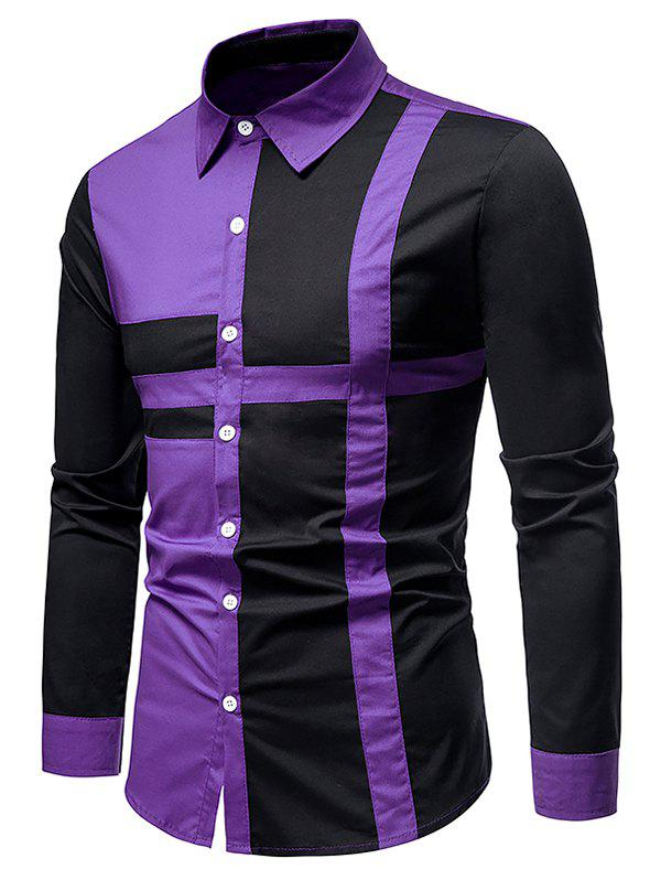Button Up Cross Print Contrast Shirt - PURPLE L