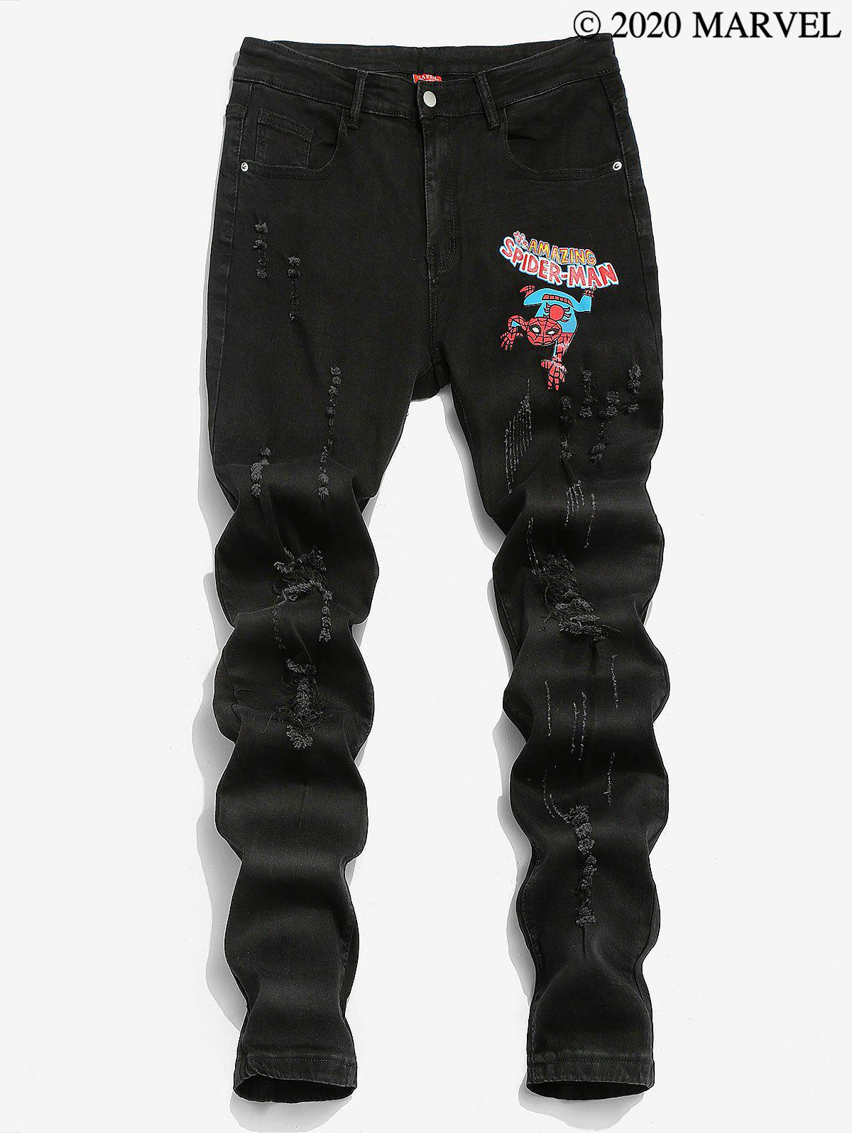 Marvel Spider-Man Graphic Print Ripped Tapered Jeans - BLACK M