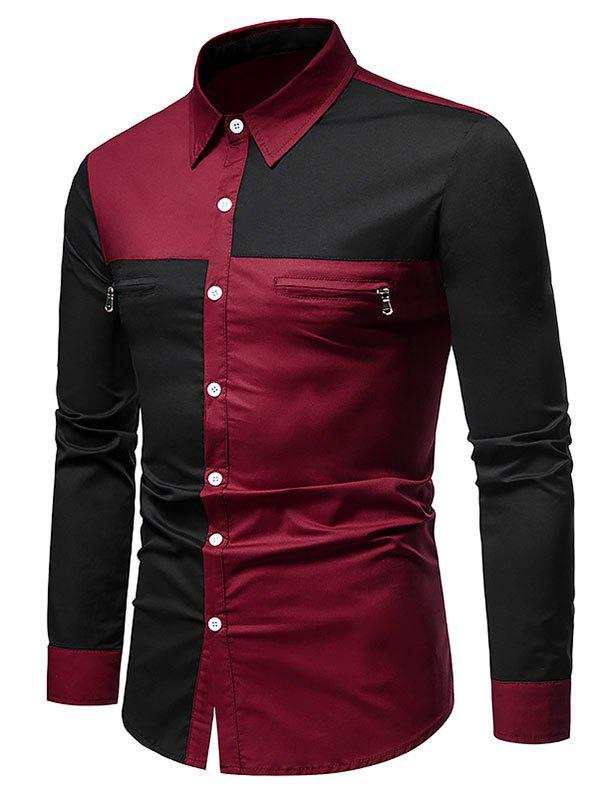 Contrast Zipper Detail Button Up Shirt - RED WINE XXL