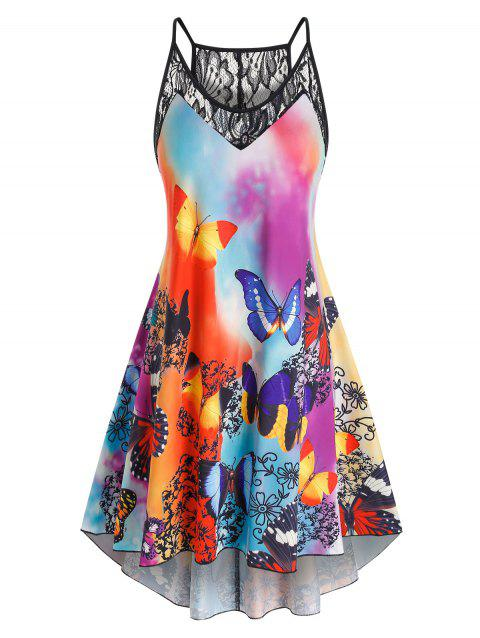 Plus Size Lace Panel Butterfly Print High Low Dress