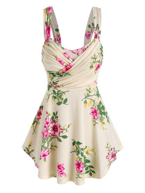 Ruched Crossover Floral Print Tank Top