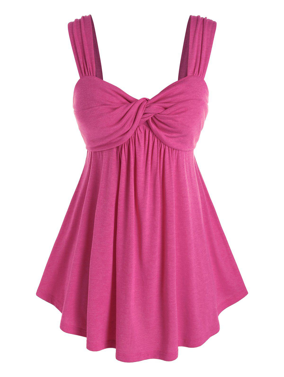 Plus Size Sweetheart Neck Front Twist Tank Top - LIGHT PINK 5X