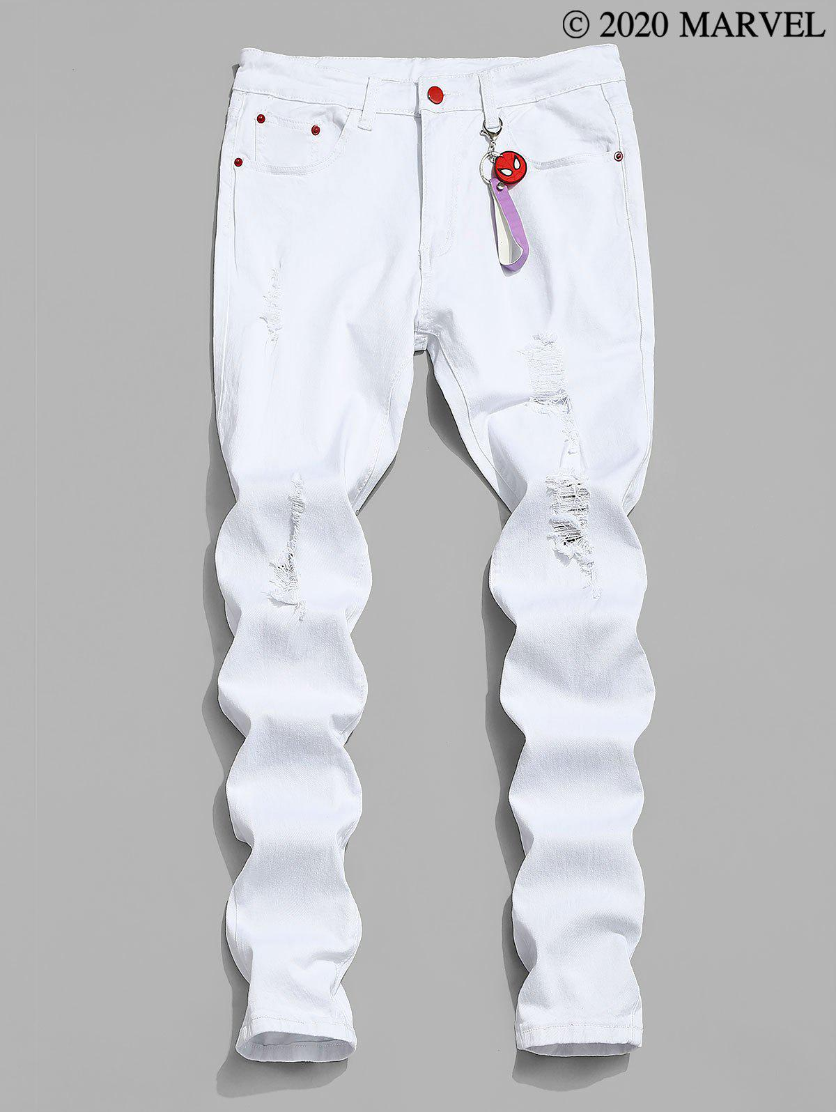 Marvel Spider-Man Ripped Tapered Jeans with Keychain - WHITE M