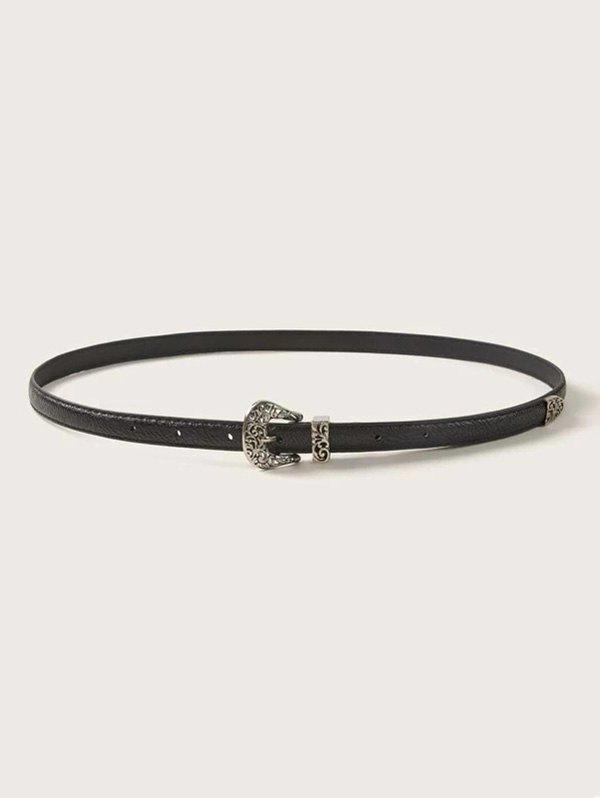 Retro Hollow Pin Buckle Belt - BLACK