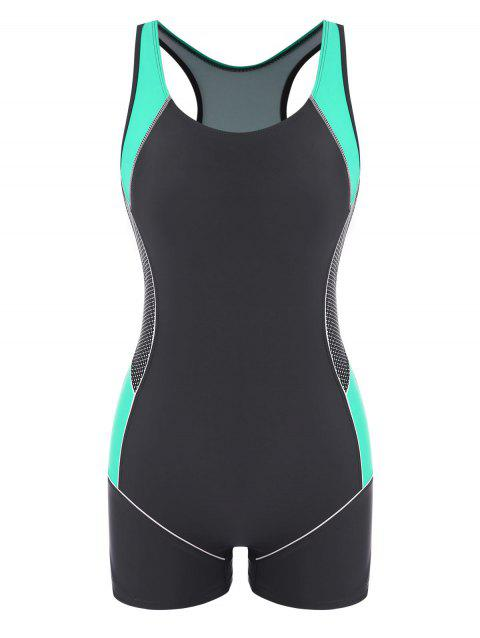 Racerback Colorblock Cutout Boyleg Sporty One-piece Swimsuit