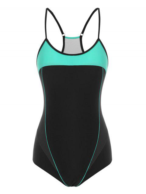 Piping Racerback Cutout Colorblock One-piece Swimsuit