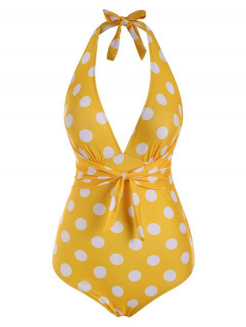 Polka Dot Tied Plunge Front Halter One-piece Swimsuit