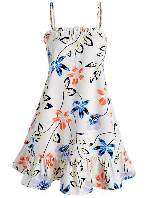 Flower and Leaves Print Flounced Cami Dress