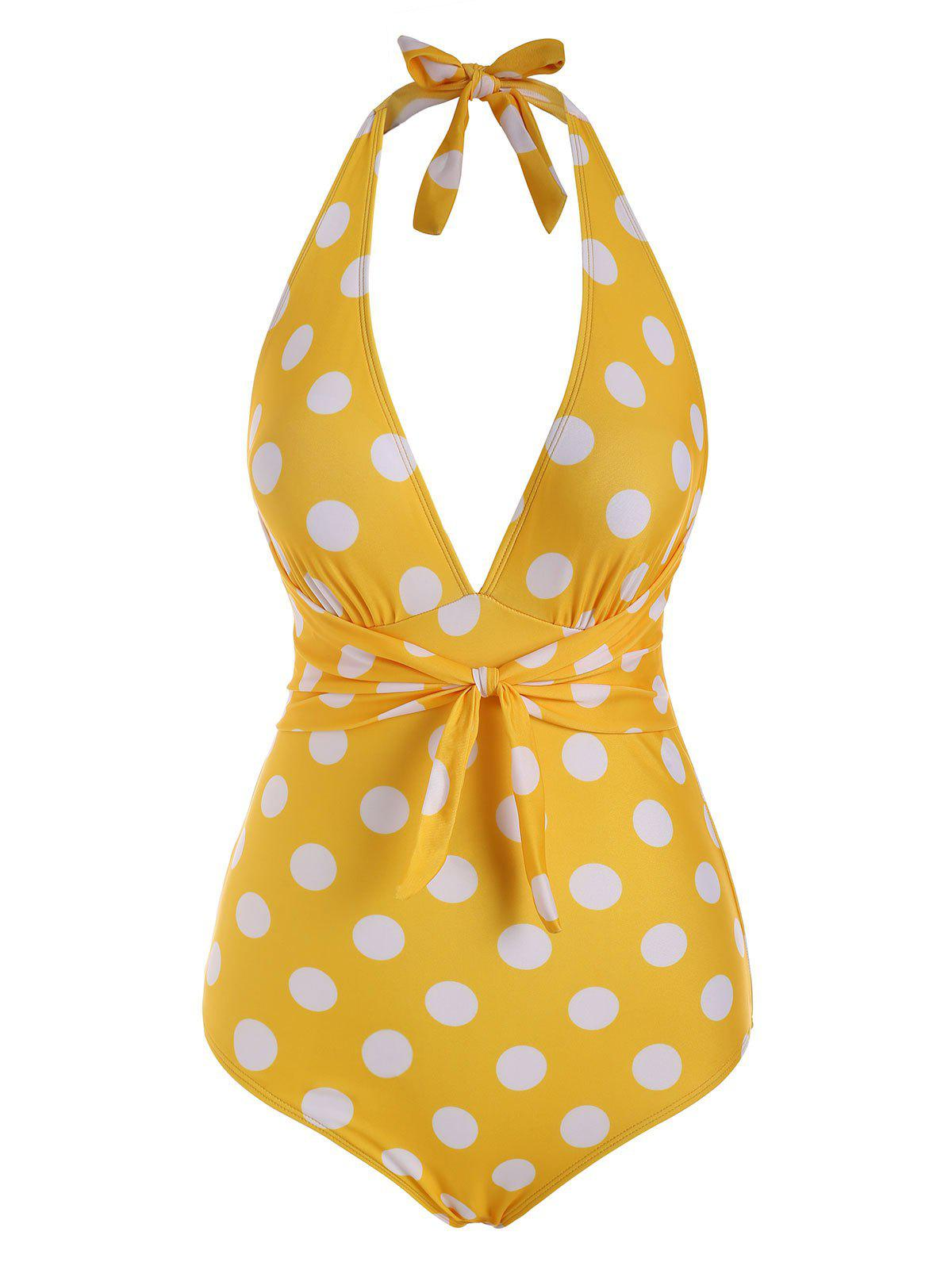 Polka Dot Tied Plunge Front Halter One-piece Swimsuit - YELLOW S