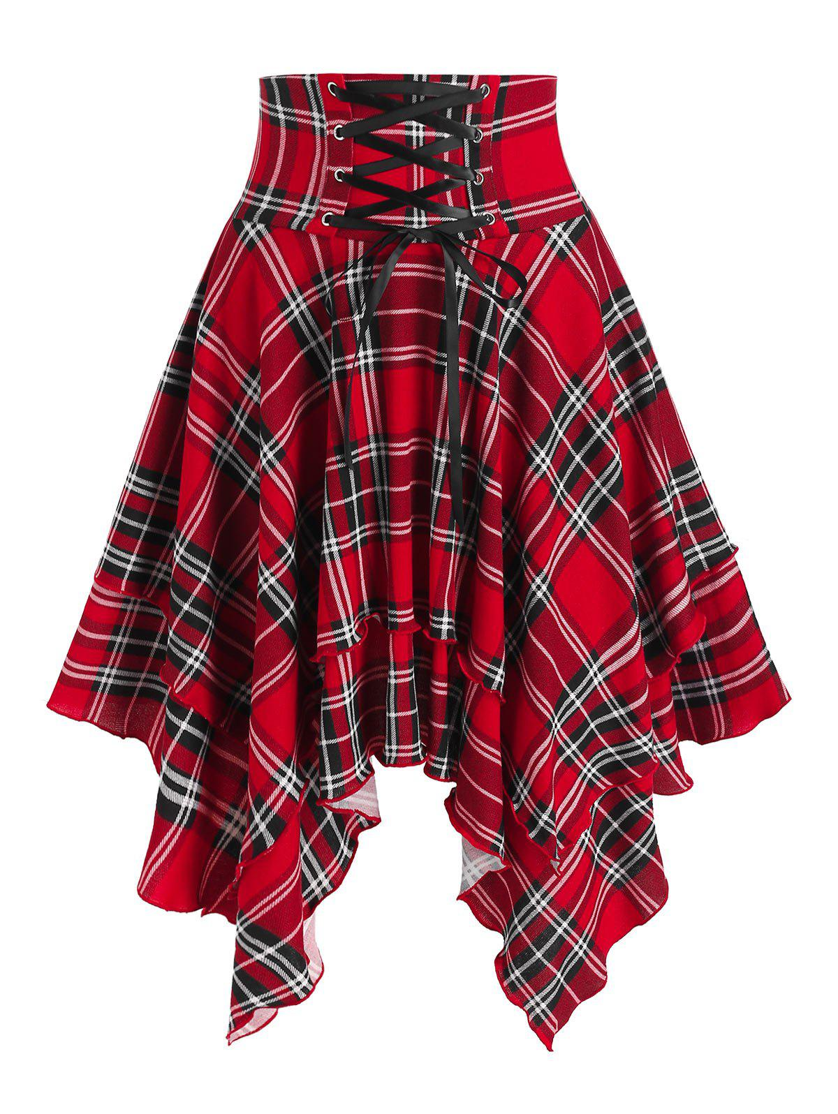 Plaid Print Lace-up Layered Handkerchief Skirt - RED M