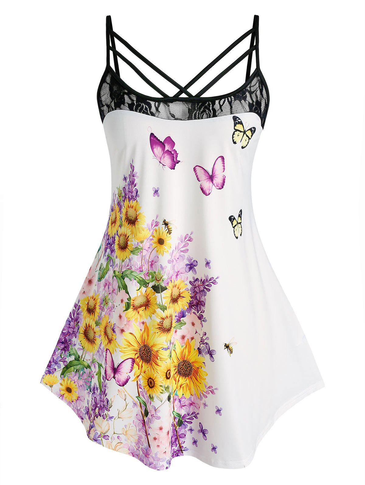 Plus Size Sunflower Butterfly Print Lace Panel Straps Cami Top - multicolor 5X