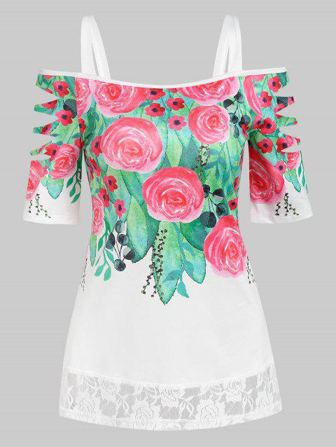 Flower Print Lace Insert Ripped T-shirt