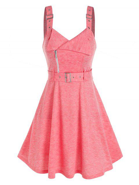 Sleeveless Buckle Strap Heathered Belted Dress