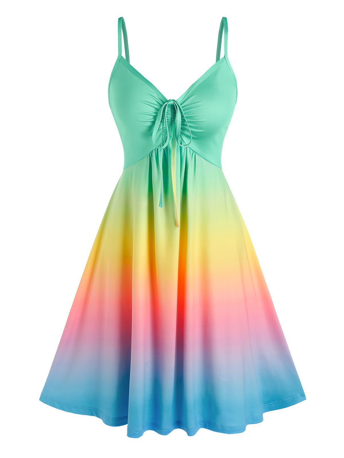 Cinched Rainbow Color Ombre Slip Dress - multicolor M