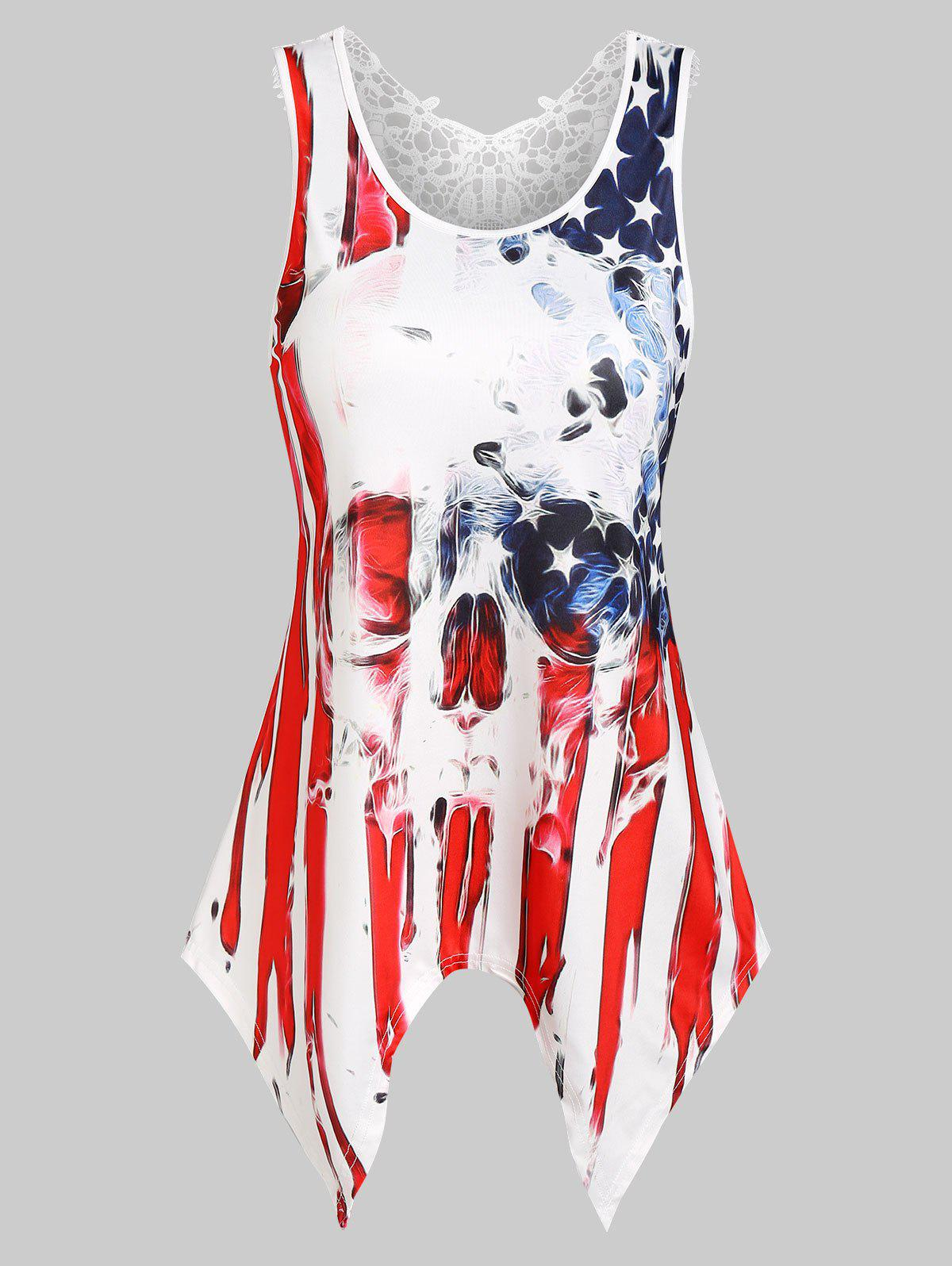 American Flag Skull Print Lace Insert Handkerchief Tank Top - RED XL