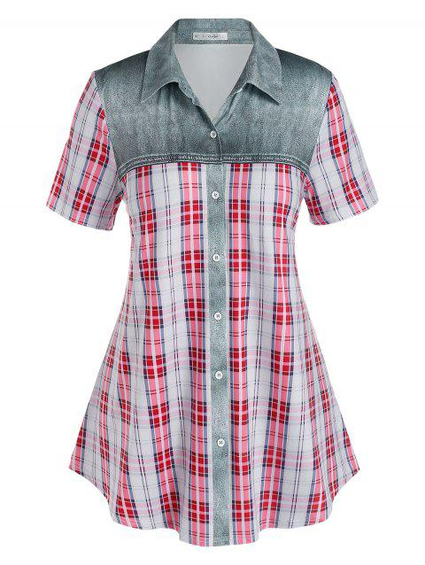 Plus Size Plaid Denim Pattern Blouse