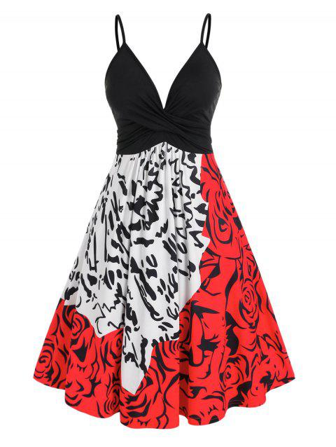 Plus Size Twisted Abstract Print Cami Backless Dress