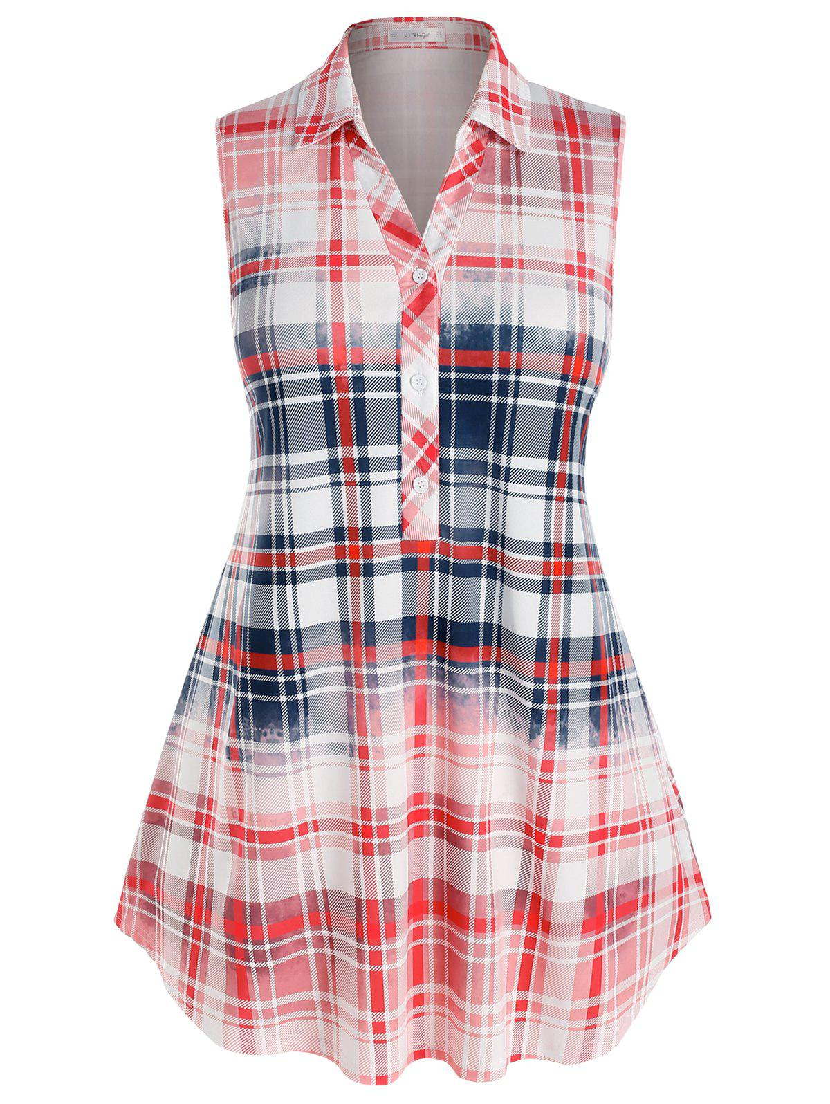 Plus Size Sleeveless Plaid Colorblock Blouse - multicolor 5X