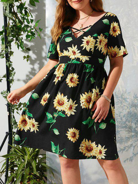 Plus Size Criss Cross Sunflower Print Dress