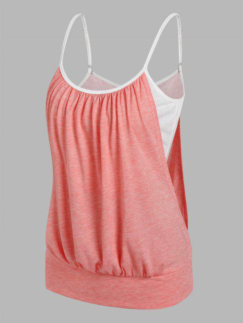 Heathered Faux Twinset Blouson Cami Top