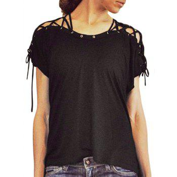 Lace-up Detail High Low T-shirt