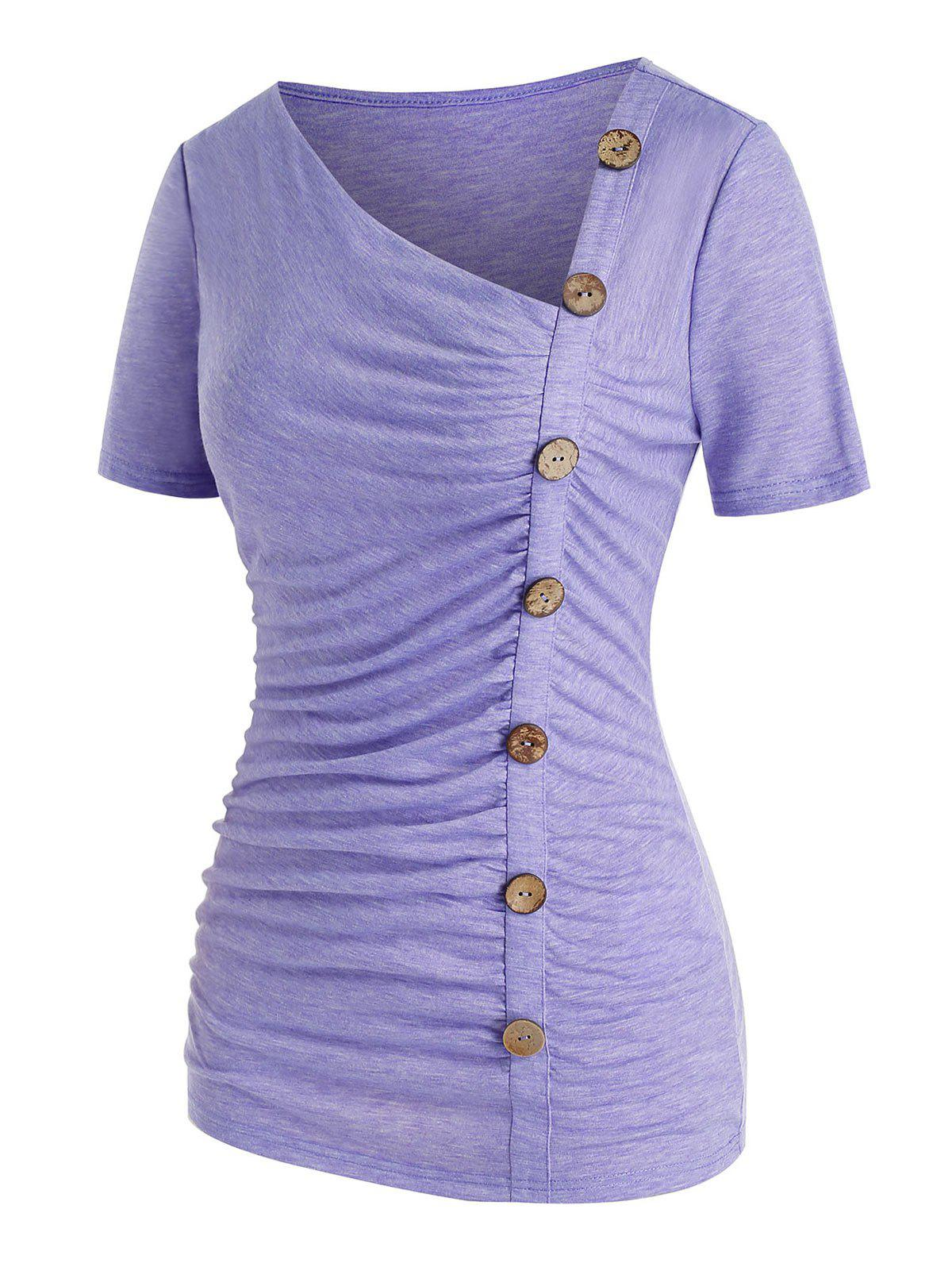 Plus Size Buttons Skew Neck Asymmetric T Shirt - PURPLE 5X