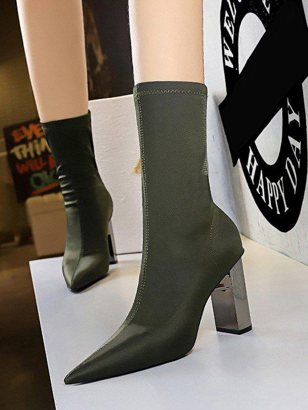Stretch Stitching Solid Chunky Heel Mid Calf Boots - GREEN EU 40