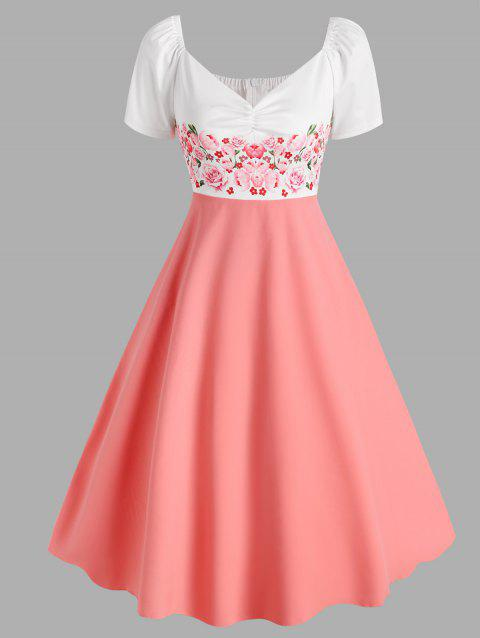 Flower Print Raglan Sleeve Ruched Midi Dress