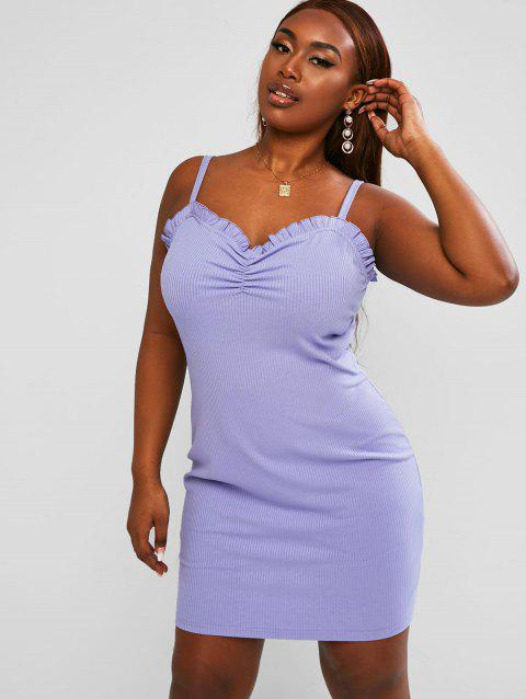 Ribbed Ruched Frilled Plus Size Mini Dress