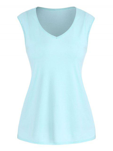 Solid V Neck Casual Tank Top