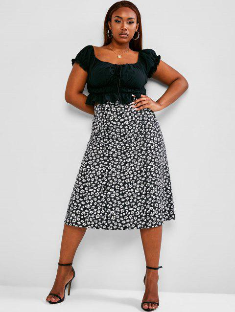 Plus Size Cinched Ruched Ditsy Print Two Piece Dress