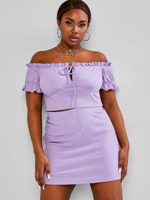 Plus Size Ribbed Off Shoulder Two Piece Skirt Dress