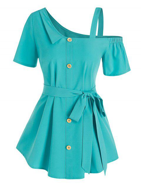 Mock Button Belted Blouse
