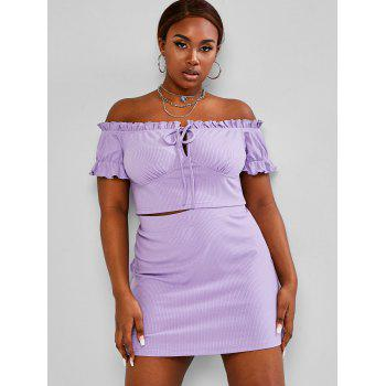 Plus Size Ribbed Off Shoulder Two Piece Skirt Dress, DRESSLILY  - buy with discount