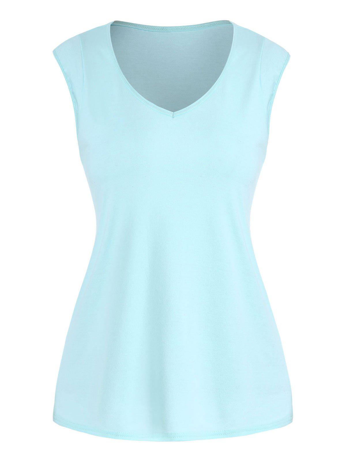 Solid V Neck Casual Tank Top - BLUE XL