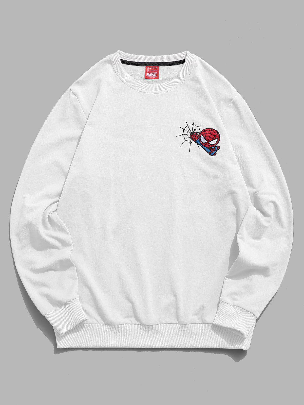 Marvel Spider-Man Embroidery Web Casual Sweatshirt - WHITE L