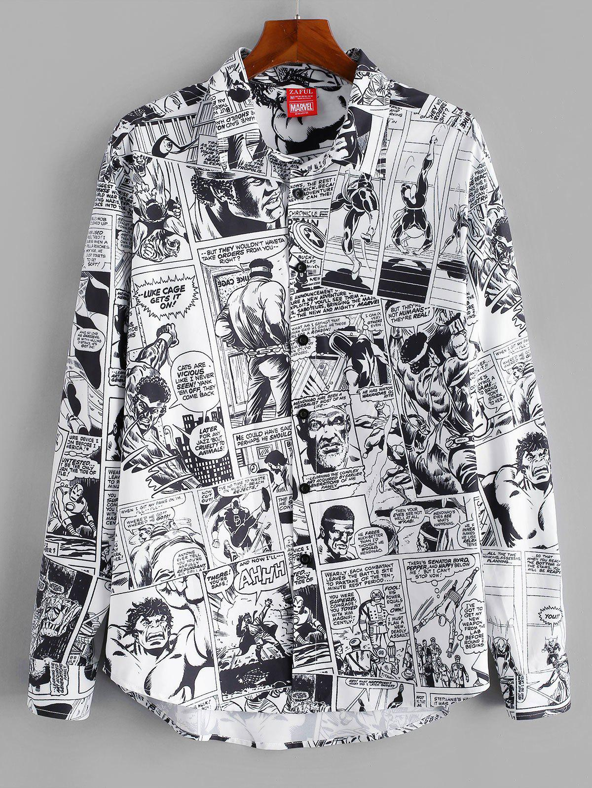 Marvel Spider-Man Comics Printed Button Up Shirt - WHITE 2XL