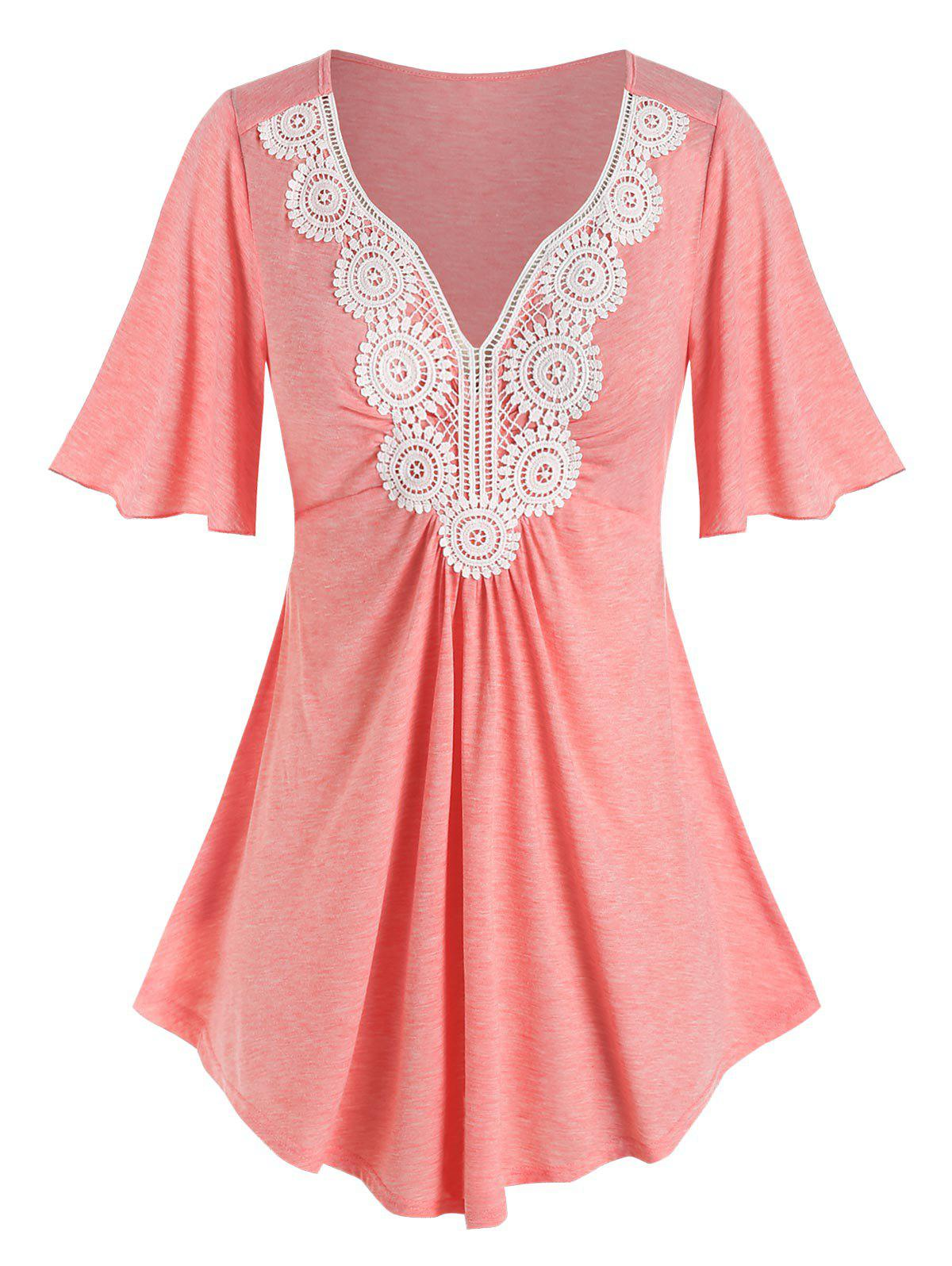 Plus Size Lace Applique Flutter Sleeve T Shirt - LIGHT ORANGE 5X