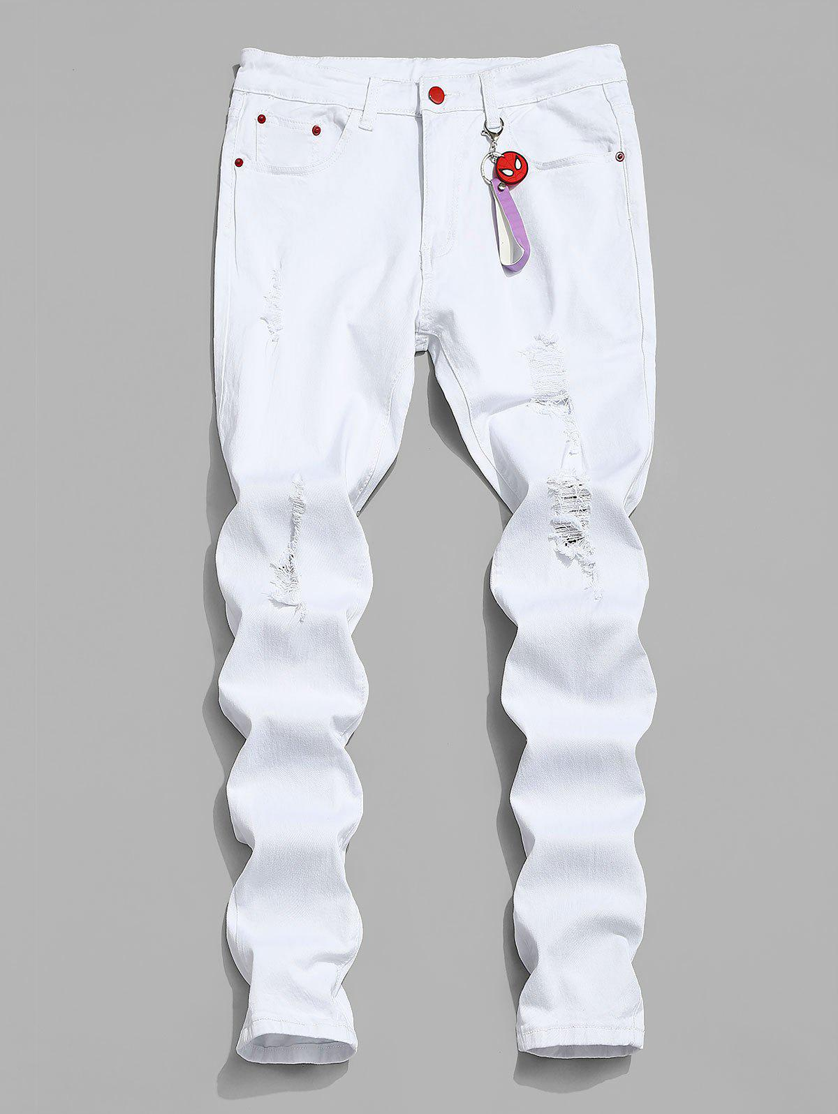 Marvel Spider-Man Ripped Tapered Jeans with Keychain - WHITE L