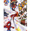 Marvel Spider-Man Letter Graphic Printed Pullover Hoodie - WHITE L