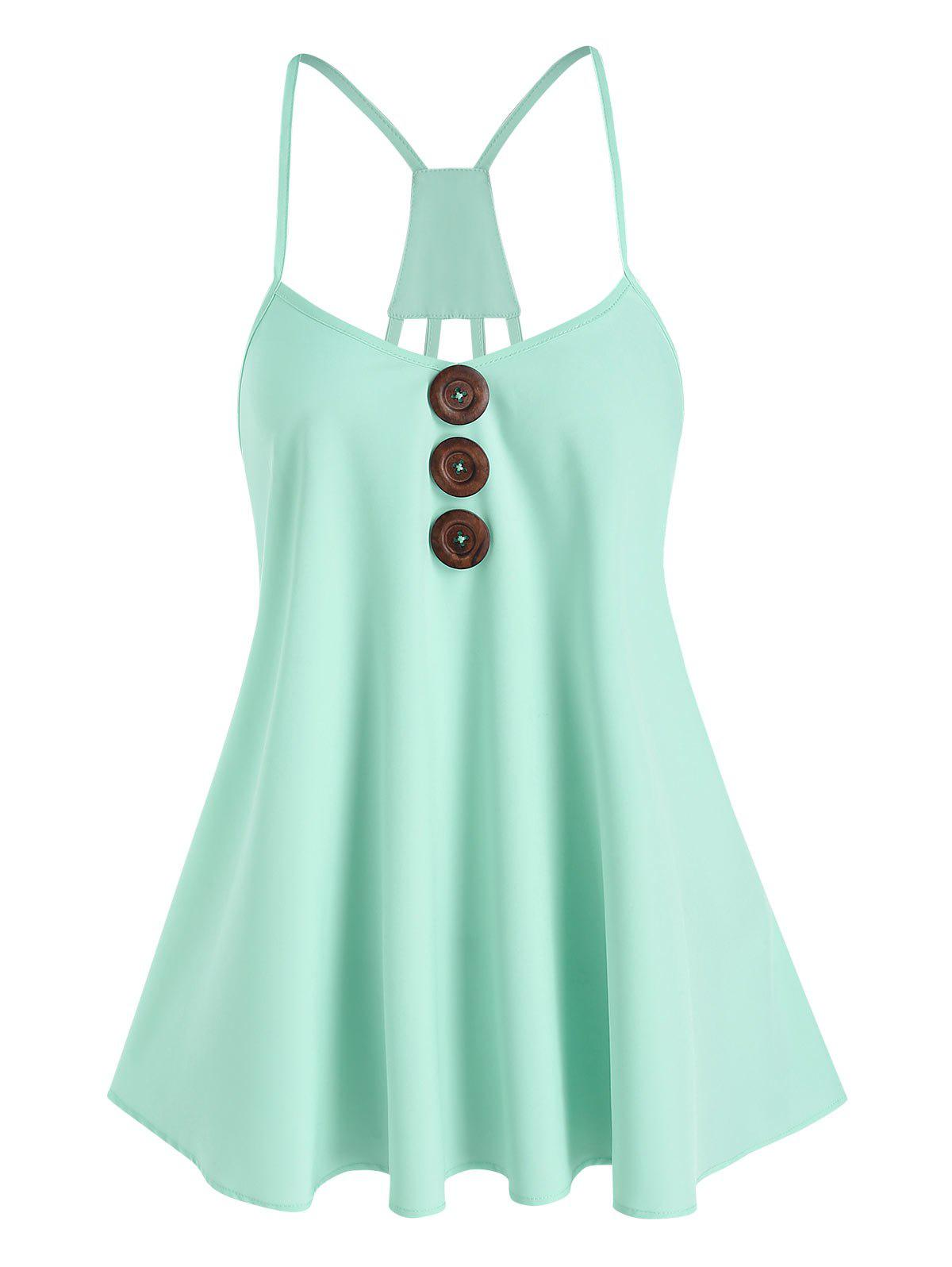 Strappy Mock Button Cami Top - LIGHT GREEN M