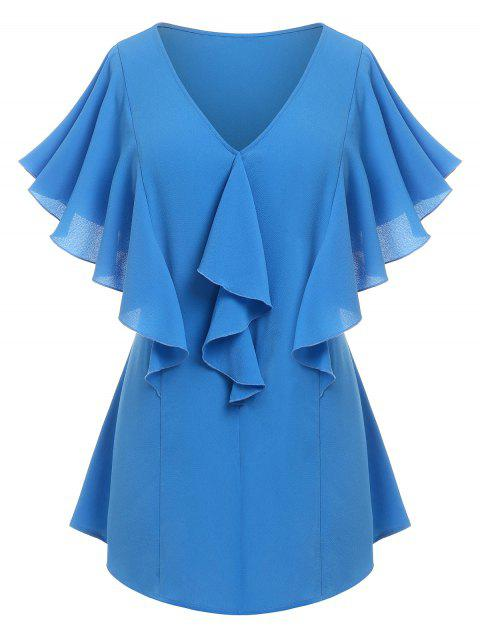Plus Size Butterfly Sleeve Ruffle Plunging Blouse