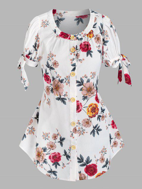 Button Front Tie Sleeve Floral Blouse