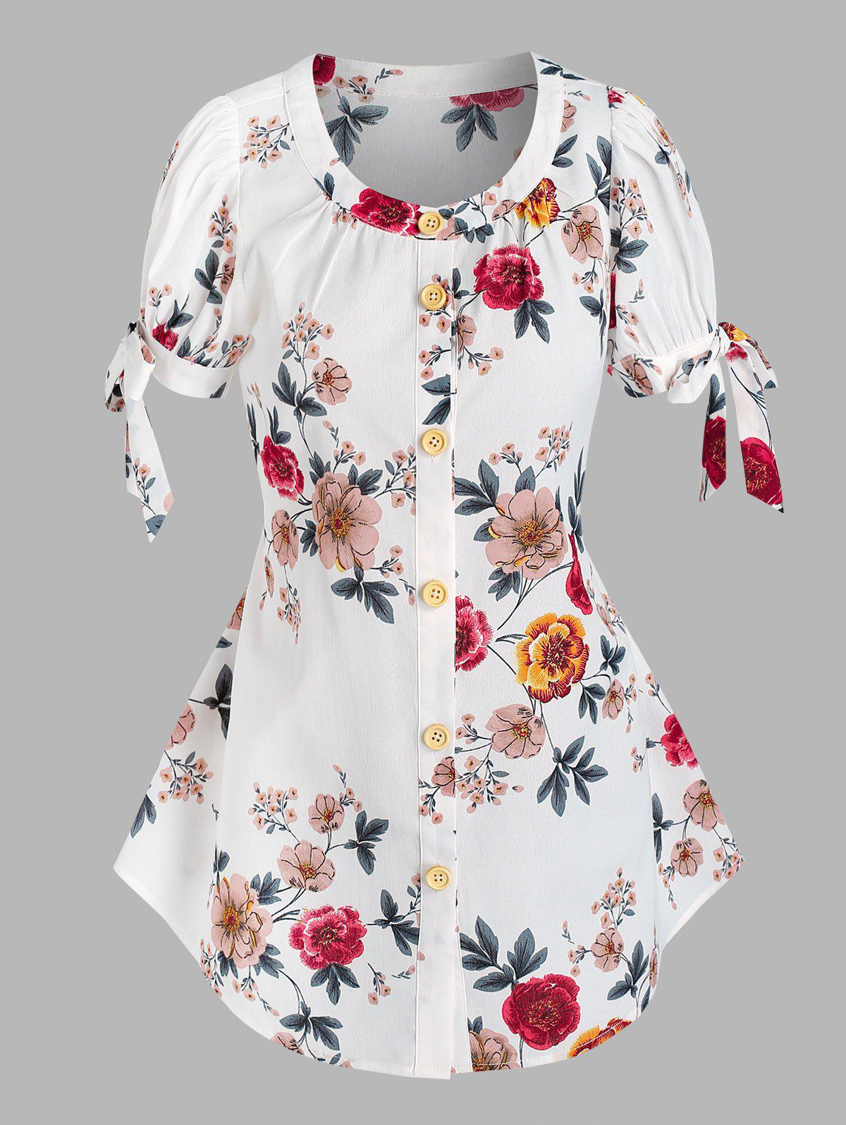 Button Front Tie Sleeve Floral Blouse - WHITE XL