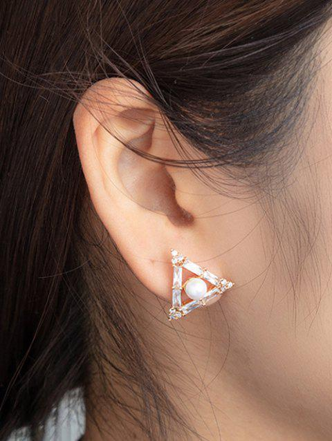 Faux Pearl Gold Plated Triangle Earrings