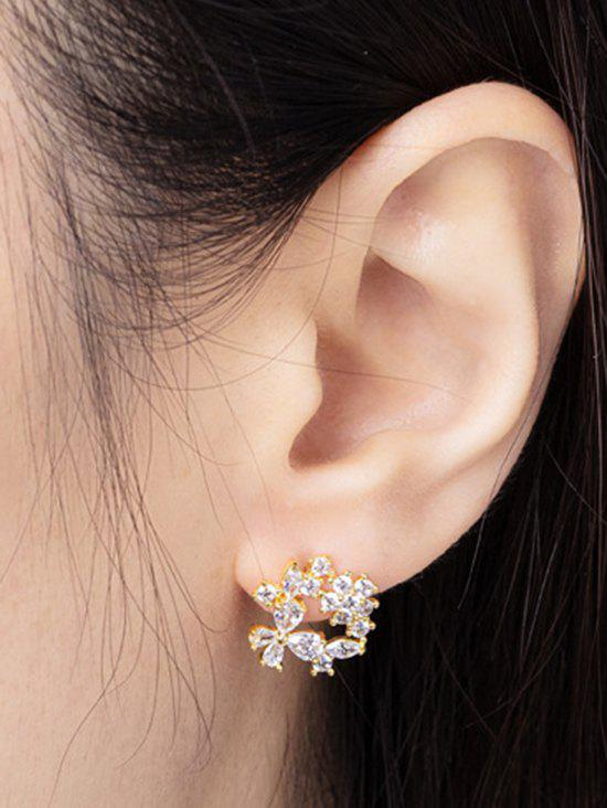 Zircon Inlaid Gold Plated Floral Stud Earrings - GOLDEN