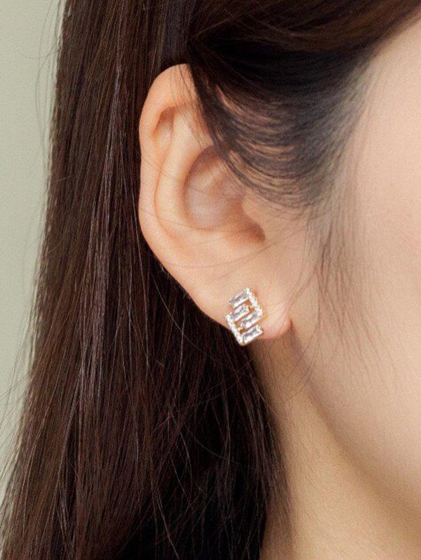 Geometric Zircon Gold Plated Stud Earrings - GOLDEN