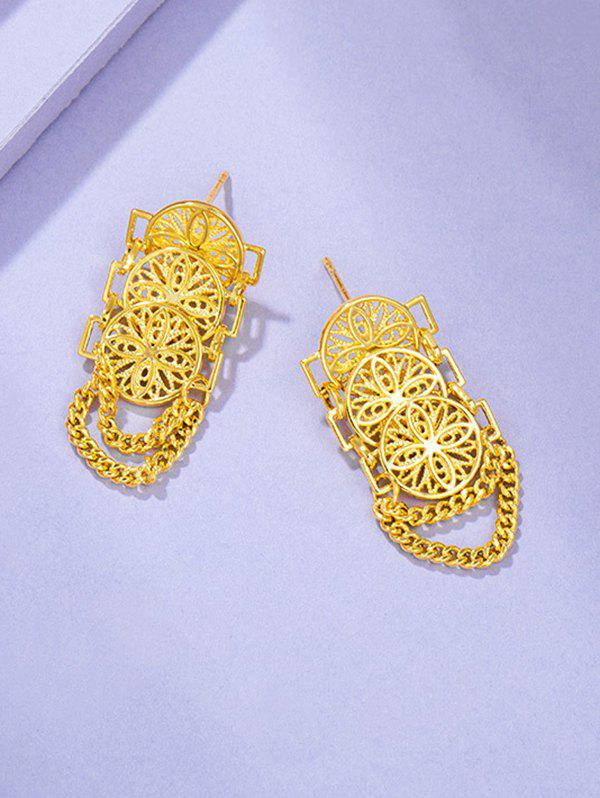 Hollow Chains Gold Plated Earrings - GOLDEN
