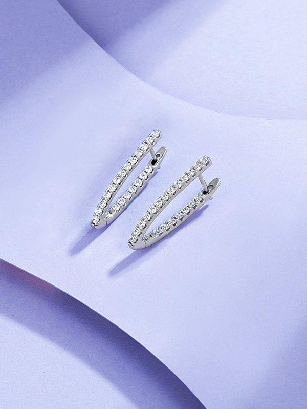V Shaped Zircon Inlaid Earrings - SILVER
