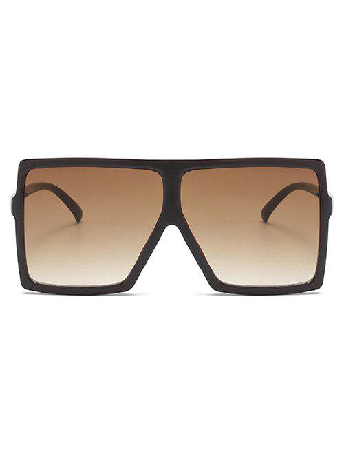 Oversize Flat Top Square Frame Sunglasses - COFFEE